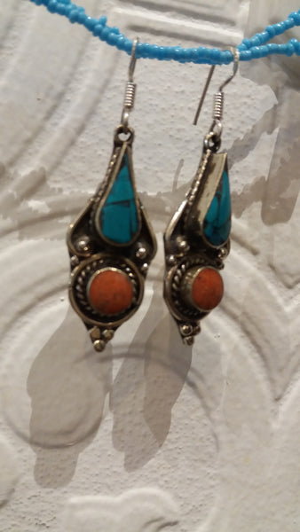 Bohemian style handcrafted Tibetan earrings