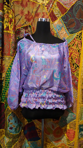 Bohemian style handcrafted Crop smocked top