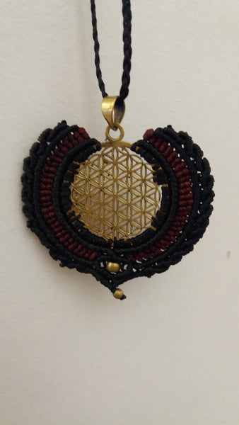 Bohemian style handcrafted Macrame with brass necklace # 12
