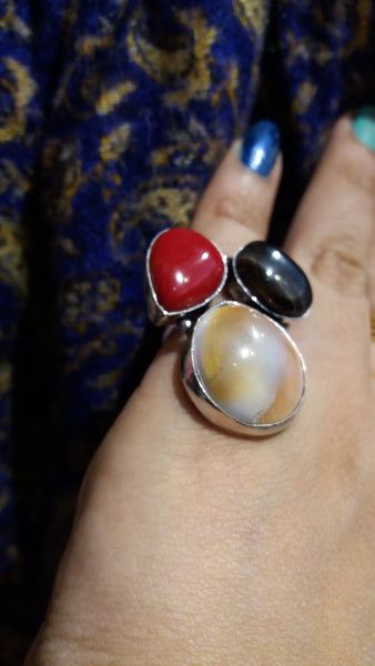 Bohemian style handcrafted gypsy  3 Stones ring #14