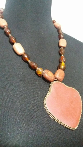 BOHEMIAN STYLE HANDCRAFTED INLAID  BROWN STONE IN BRASS PENDANT