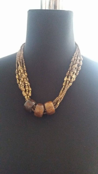 BOHEMIAN STYLE HANDCRAFTED YAK BONE WITH WOOD BEADS JEWELLRY