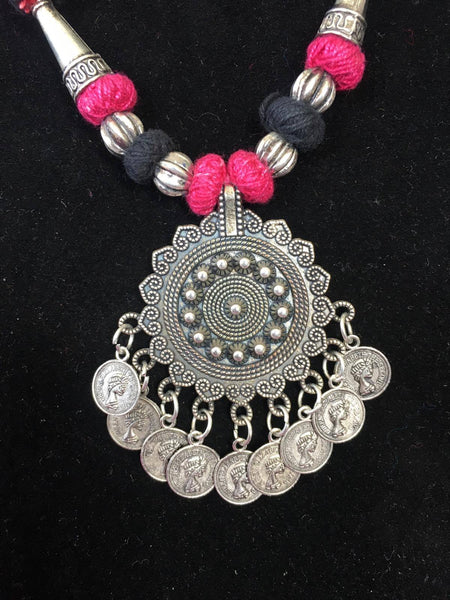 BOHEMIAN STYLE HANDCRAFTED GERMAN SILVER PENDANT WITH DANGLES JEWELLERY
