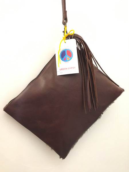 Bohemian style handcrafted Genuine leather with cowhide and tassel clutch  #12