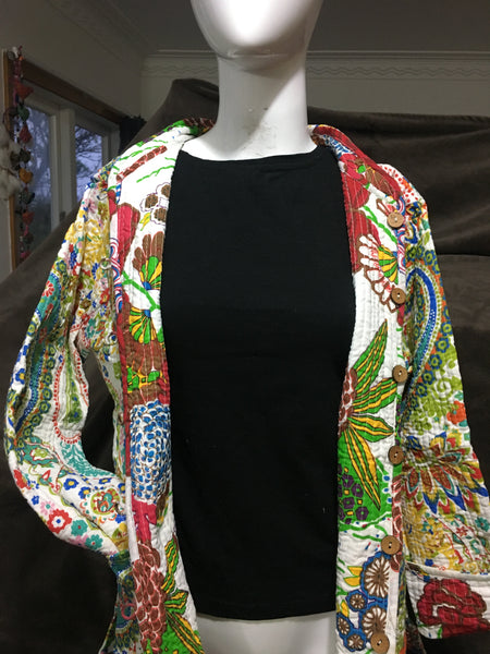 Bohemian style handcrafted short length Quilt \ Kantha Jackets #019