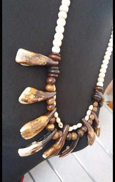 Bohemian style handcrafted bison/buffalo teeth necklace