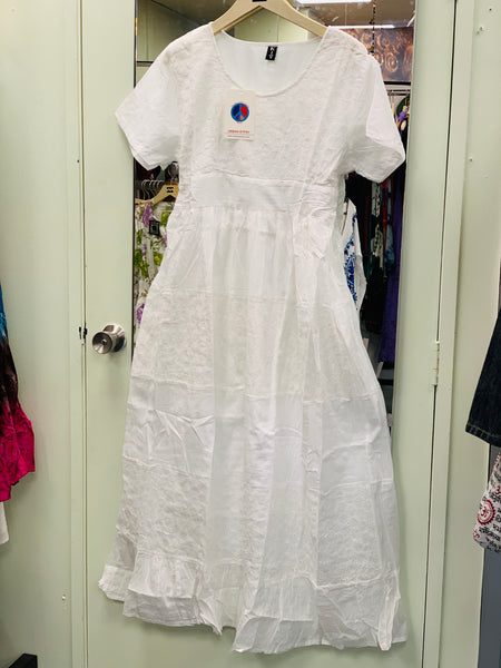 Bohemian style handcrafted cotton white dress #0097