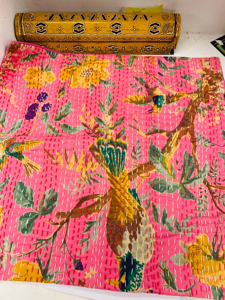 Bohemian style handcrafted Kantha Work Square cushion cover #704