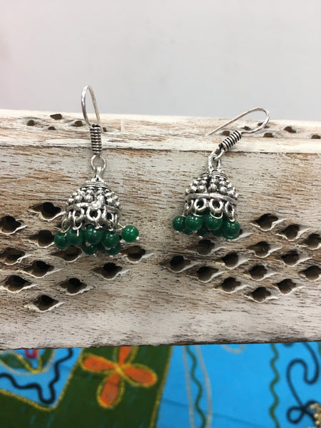 BOHEMIAN STYLE HANDCRAFTED  EARRINGS WITH GREEN BEADS #47