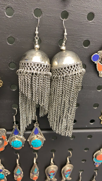 BOHEMIAN STYLE HANDCRAFTED GERMAN SILVER EARRINGS #54