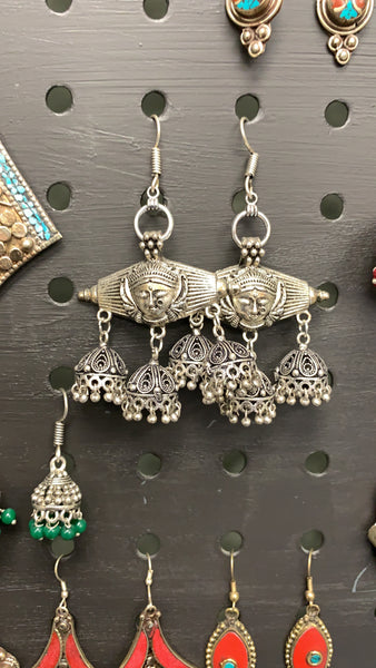 BOHEMIAN STYLE HANDCRAFTED GERMAN SILVER EARRINGS #55
