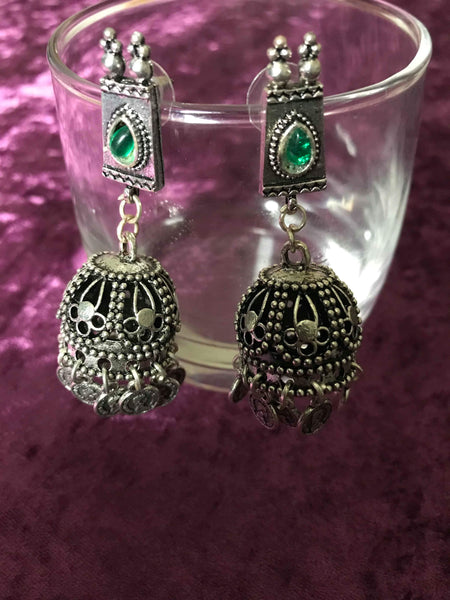 Bohemian style handcrafted German silver earrings