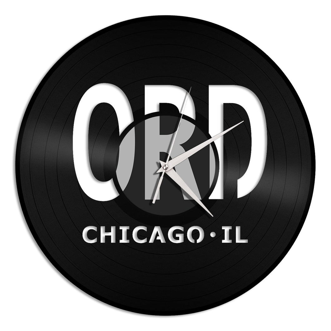 Airport Chicago Vinyl Wall Clock