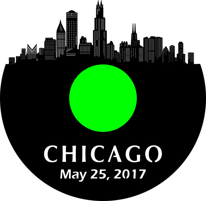 Chicago New May 25, 2017 Clock, Black Label White Clock Hands