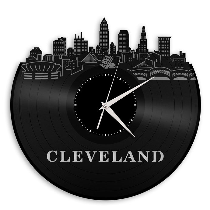 Cleveland Skyline Vinyl Wall Clock Updated - VinylShop.US