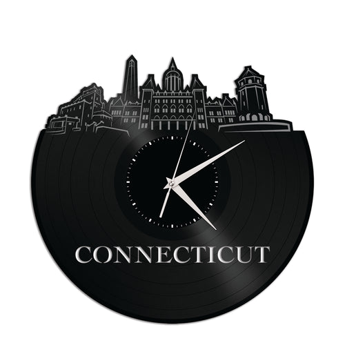 Connecticut Skyline Vinyl Wall Clock - VinylShop.US