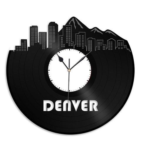 Denver Skyline Vinyl Wall Clock