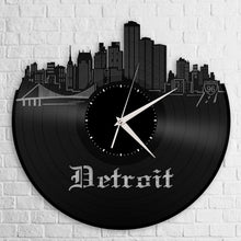 Detroit Updated Skyline Vinyl Wall Clock - VinylShop.US
