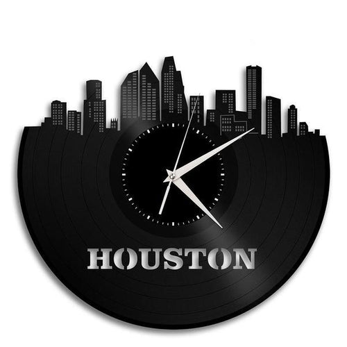 Houston Skyline Vinyl Wall Clock
