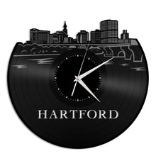 Hartford City Skyline Vinyl Wall Clock - VinylShop.US