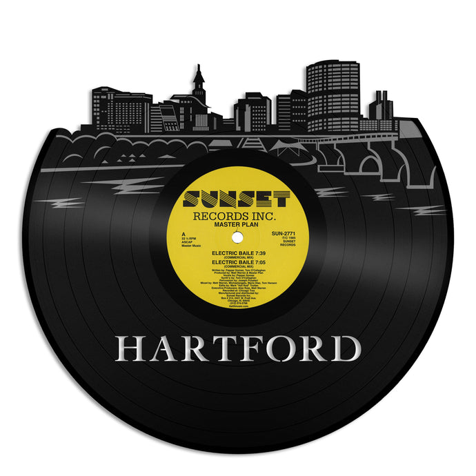 Hartford City Skyline Vinyl Wall Art - VinylShop.US