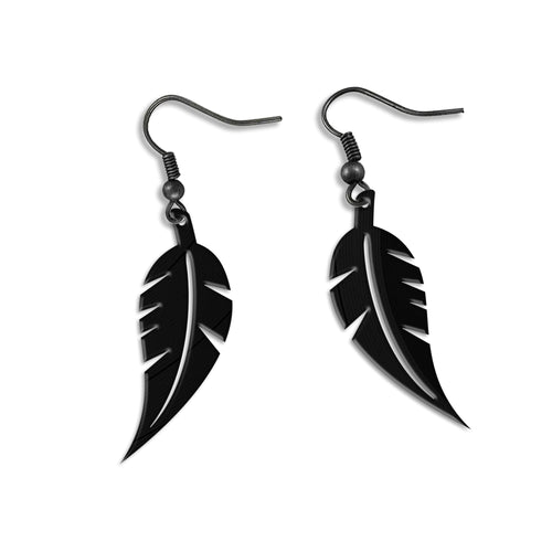 Black Leaf Vinyl Earrings - VinylShop.US