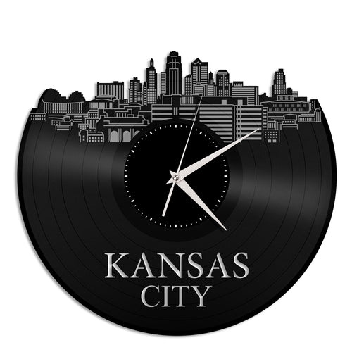 Kansas City Skyline Vinyl Wall Clock - VinylShop.US