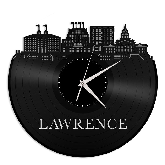 Lawrence Kansas skyline Vinyl Wall Clock - VinylShop.US
