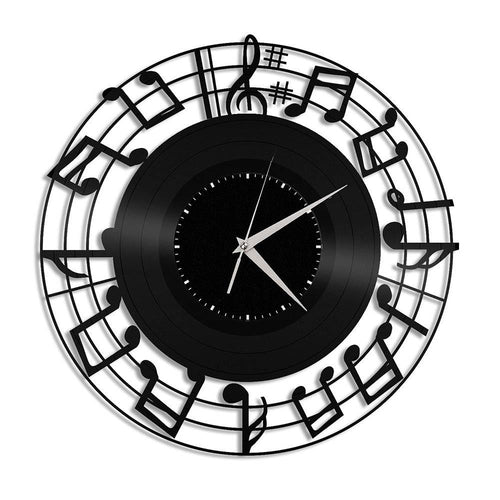 Unique Vinyl Wall Clock Music Notes
