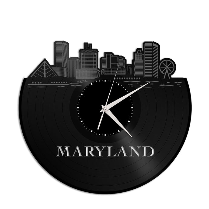 Maryland Skyline Vinyl Wall Clock