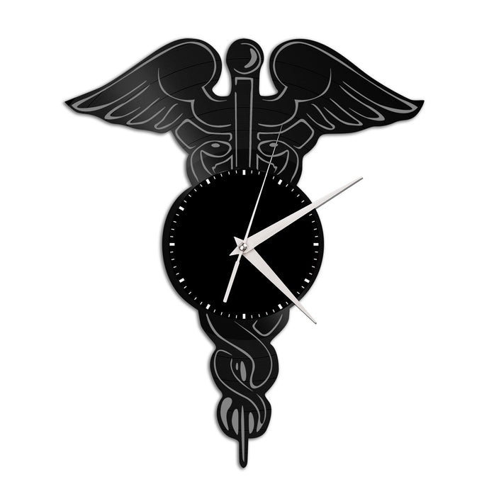 Medical Caduceus Design Vinyl Wall Clock - VinylShop.US