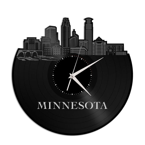Minnesota Skyline Vinyl Wall Clock