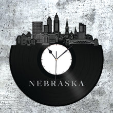 Nebraska Skyline Vinyl Wall Clock