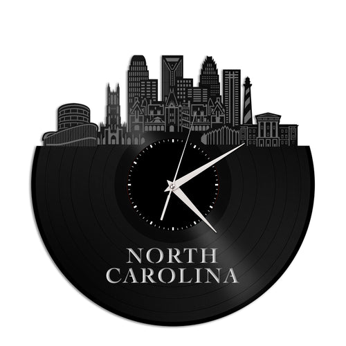North Carolina Skyline Vinyl Wall Clock - VinylShop.US