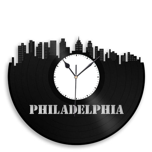 Unique Vinyl Wall Clock Philadelphia