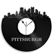 Pittsburgh Skyline Vinyl Wall Clock - VinylShop.US