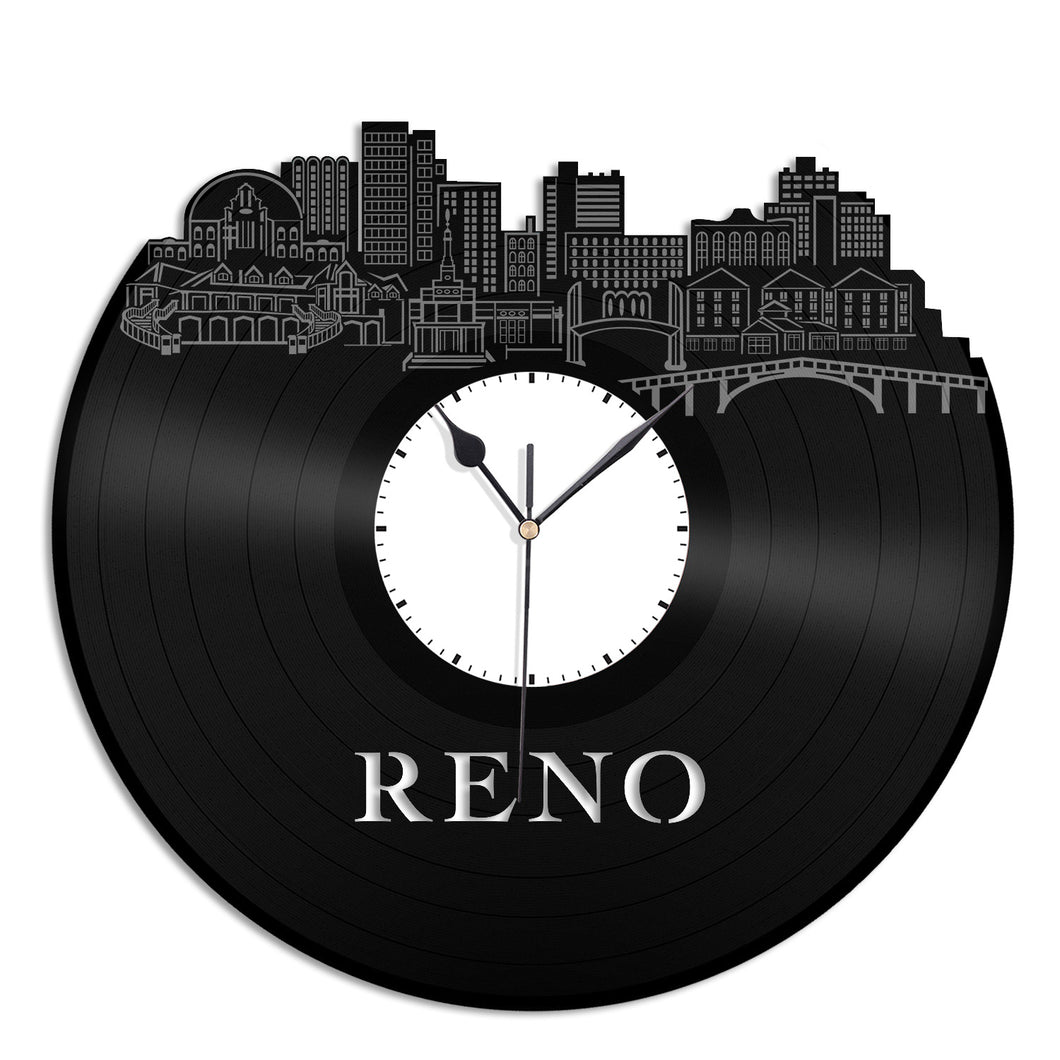 Reno Nevada Vinyl Wall Clock Skyline Unique Gift Home