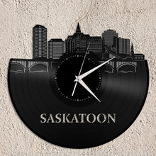 Saskatoon City Skyline Vinyl Wall Clock - VinylShop.US