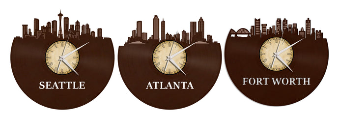 Seattle, Atlanta and Fort Worth Custom Chocolate Brown Color With Custom Clock Labels