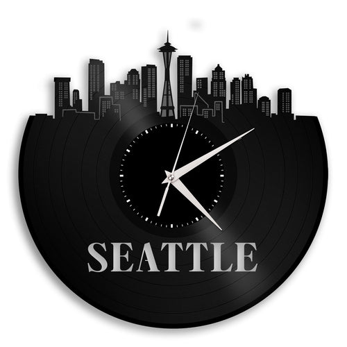 Seattle Skyline Vinyl Wall Clock