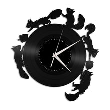 Squirrels Run Vinyl Wall Clock