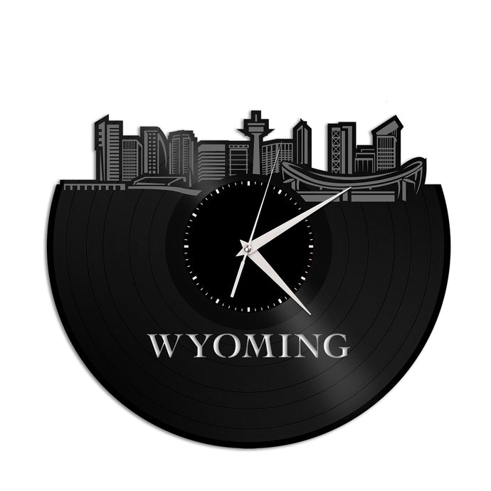 Wyoming Skyline Vinyl Wall Clock