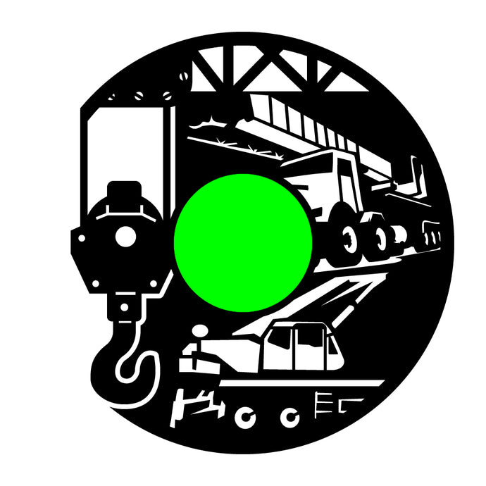 Crane Operator Custom Clock, Black Clock Label, White Clock Hands