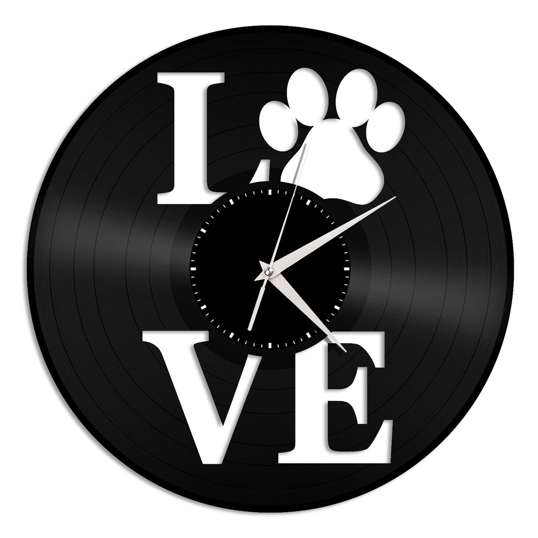 Dog Love Paw Wall Clock