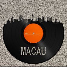 World Art, World Travel Art, World Wall Art, Macau Skyline Art, World Wall Decor Art, Macau Wall Art, Personalized Record Skyline Gift Idea - VinylShop.US
