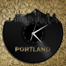 Vintage Wall Clock - Portland Skyline Clock, Vinyl Cityscape Clock, Wall Art Clock,  Modern Wall Clock,  Large Wall Clock, Travel Gift - VinylShop.US