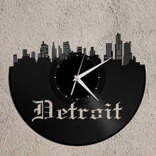 Detroit Skyline Michigan Art Clock - Vinyl Skyline Wall Decal, Modern City Skyline, Detroit Clock, Cool Gift Idea, Birthday, Housewarming - VinylShop.US