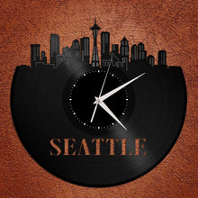 Seattle Skyline - Wall Art Clock,  Wall Clock, Cityscape Clock, Vinyl Record Clock,  Unique Wall Clock,  Large Wall Clock, Vinyl Clock - VinylShop.US