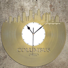 Columbus Skyline - Ohio Art Clock, Trendy Wall Clock, Cityscape Clock, Vinyl Record Clock,  Unique Wall Clock,  Large Wall Art, Novelty Gift - VinylShop.US