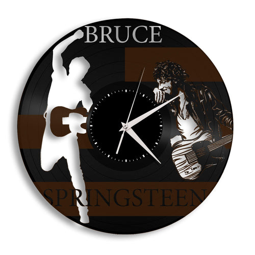 Repurposed Vintage Bruce Springsteen Record Clock - Rock and Roll Music Artist Wall Art, Unique Wall Decor, Gift For Mom, Sister, Friend - VinylShop.US